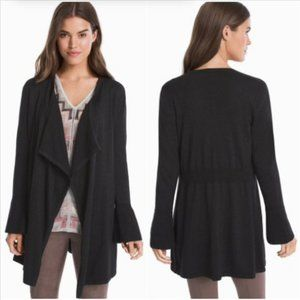 WHBM Black Shimmer Bell Sleeve Cashmere Cardigan